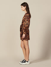 Short printed silk dress : LastChance-ES-F50 color Wildcat (Fawn)