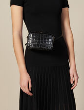 Embossed Crocodile Leather Banana Bag : All Bags color Black