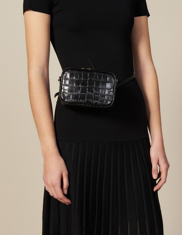 Embossed crocodile leather banana bag : All Winter collection color Black