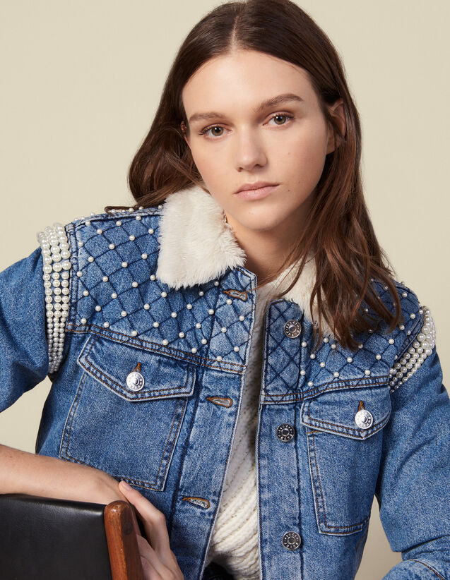 Denim jacket finished with beads : Blazers & Jackets color Blue Jean