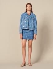 Denim Jacket Trimmed With Studs : LastChance-ES-F50 color Blue Jean