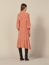Long printed silk dress : Dresses color Red