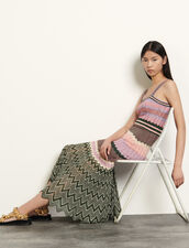 Knit dress with stripes : Dresses color Pink / Khaki