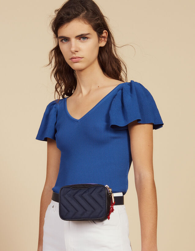 Fitted Knit Top : Tops & Shirts color Blue