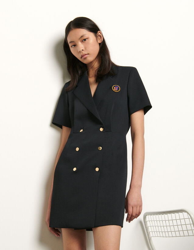 Tailored dress with button fastening : New Summer Collection color Navy Blue
