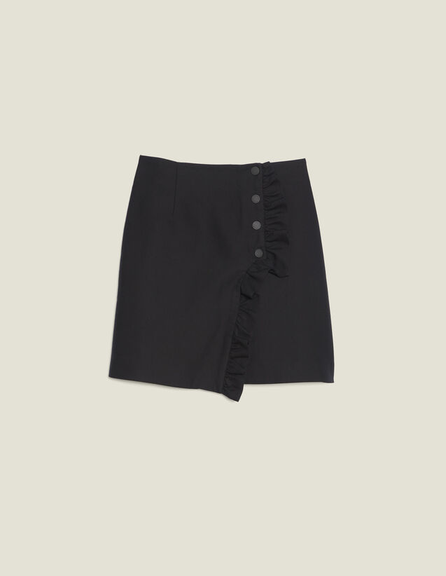 Short Wraparound Skirt With Ruffle : null color Black