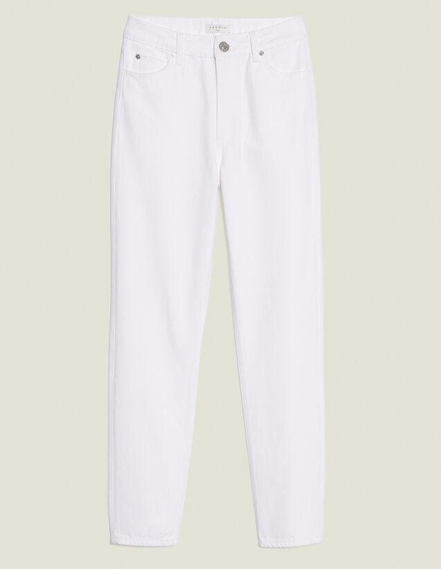 High-Waisted Straight-Cut Jeans : null color white