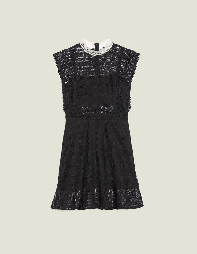 Lace Dress With Sheer Effect : null color Black