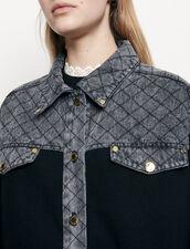 Cardi-coat with denim inset : Sweaters & Cardigans color Black