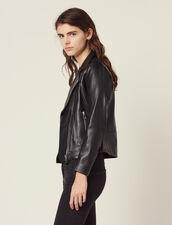 Biker jacket in lambskin : Blazers & Jackets color Black
