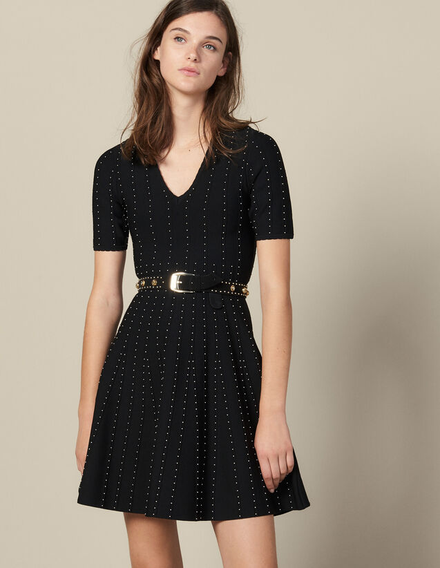 Knit Dress Embellished With Small Beads : Dresses color Black
