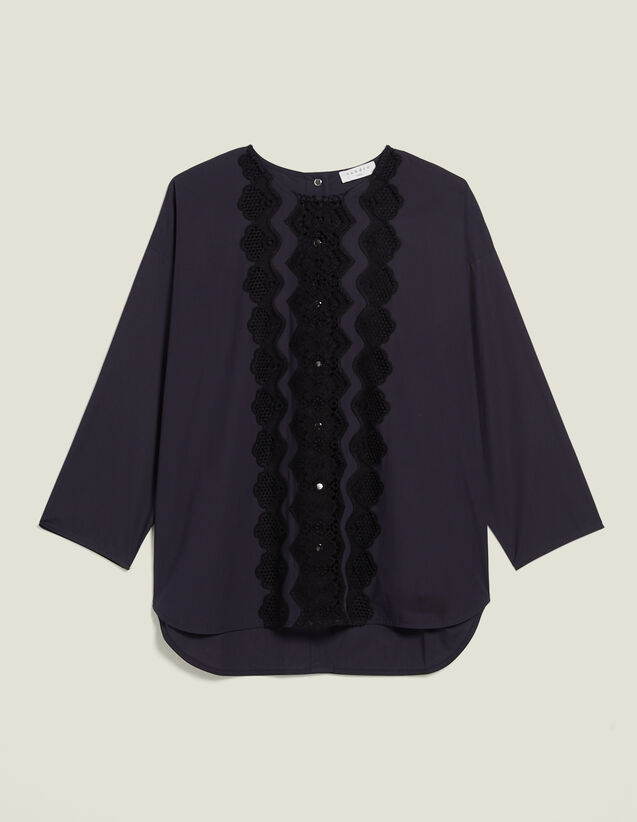 Long-Sleeved Top With Braid Trim : null color Navy Blue