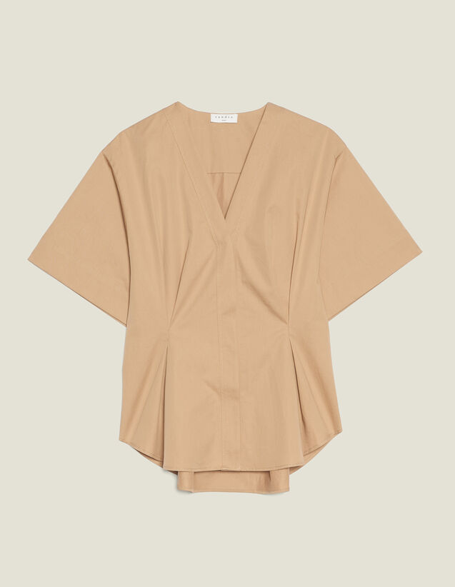 Short-Sleeved Cotton Blouse : null color Beige