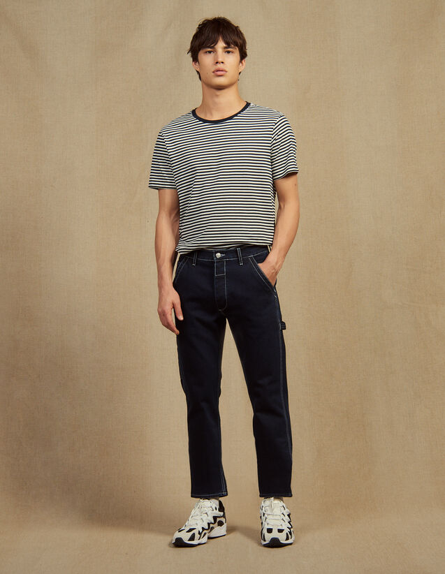 Denim Trousers With Topstitching : Jeans color Midnight Blue Denim