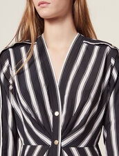 Short Striped Dress With V-Neck : null color Black