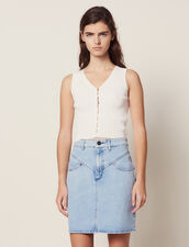 Short Denim Skirt With Topstitching : Skirts & Shorts color Blue Vintage - Denim
