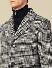 Prince of Wales check straight-cut coat : LastChance-IT-H50 color Black/White