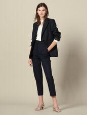 Straight-leg trousers with cummerbund : Pants color Navy Blue
