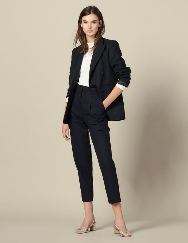 Straight-leg trousers with cummerbund : Pants color Navy Blue