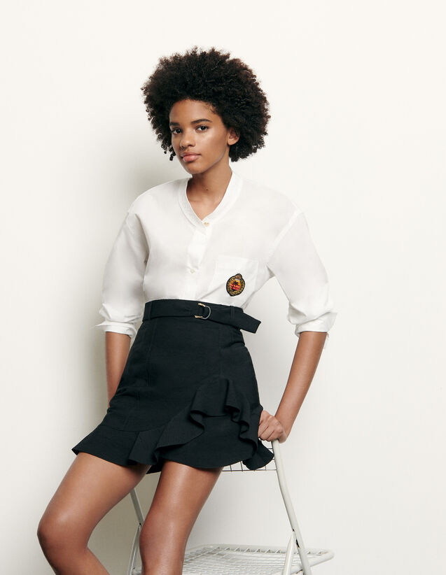 Long-sleeved shirt with military collar : Tops & Shirts color white