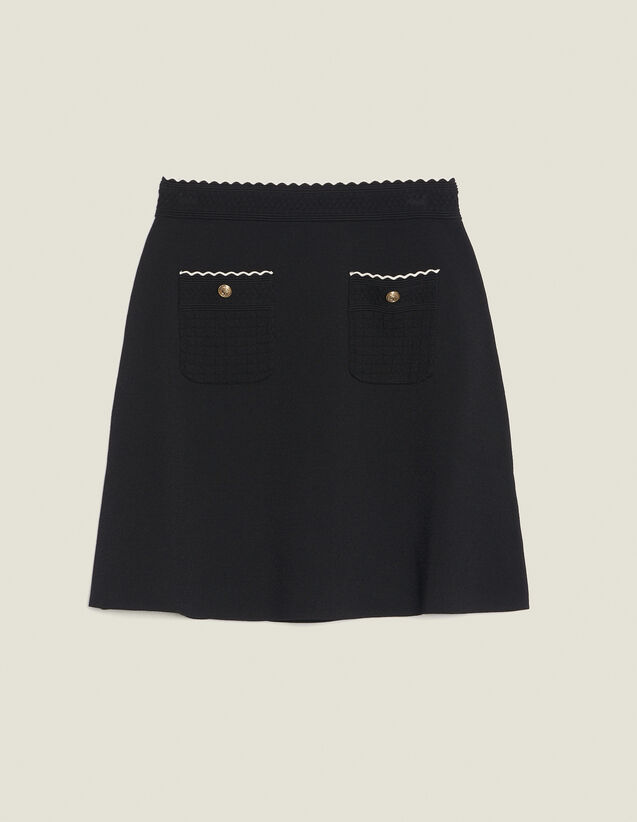 Knitted Skirt With Jewelled Buttons : null color Black