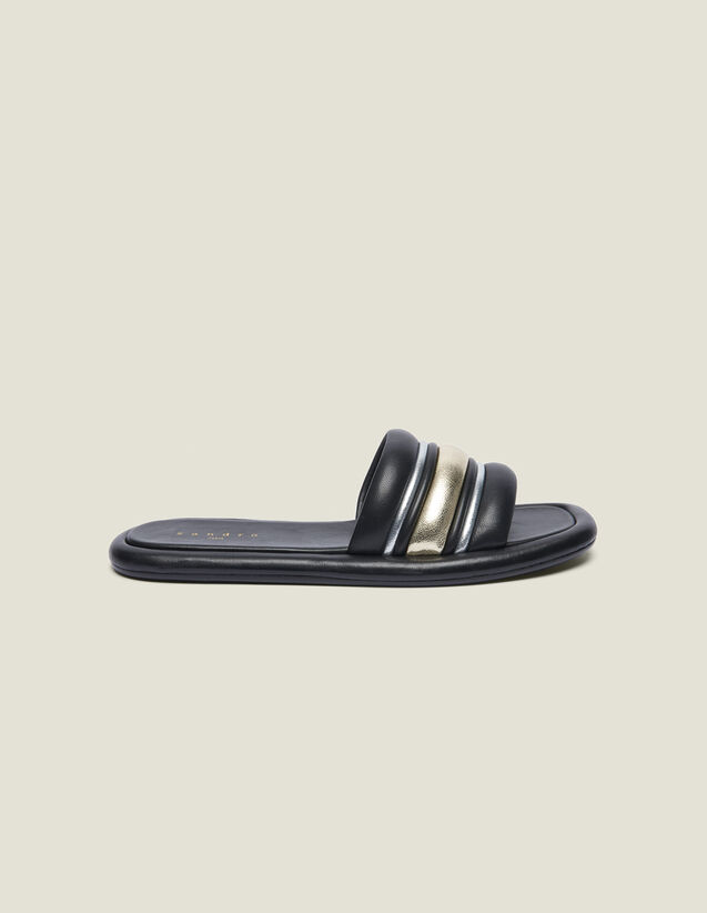 Flat Mules In A Blend Of Materials : All Selection color black/gold