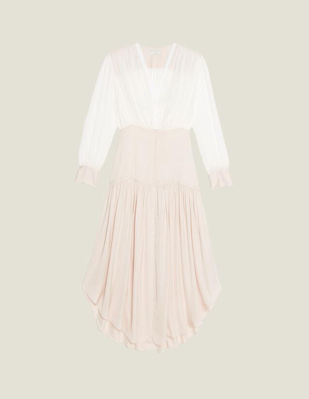 Long Asymmetric Dual Fabric Dress : All Selection color Light pink