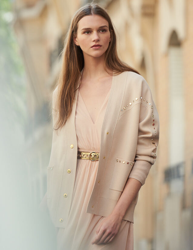 Cardi-Coat Trimmed With Studs : New In color Nude