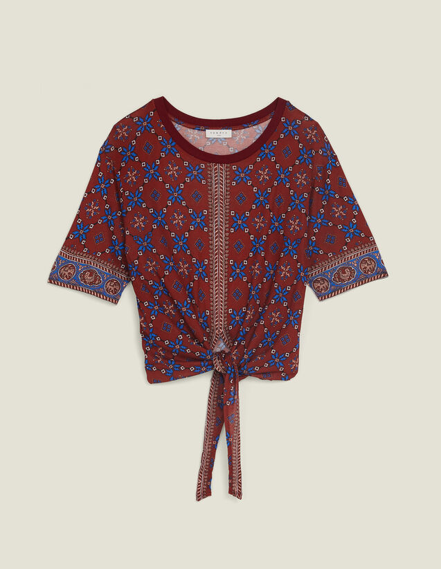 Printed T-Shirt With Tie Fastening : null color Bordeaux