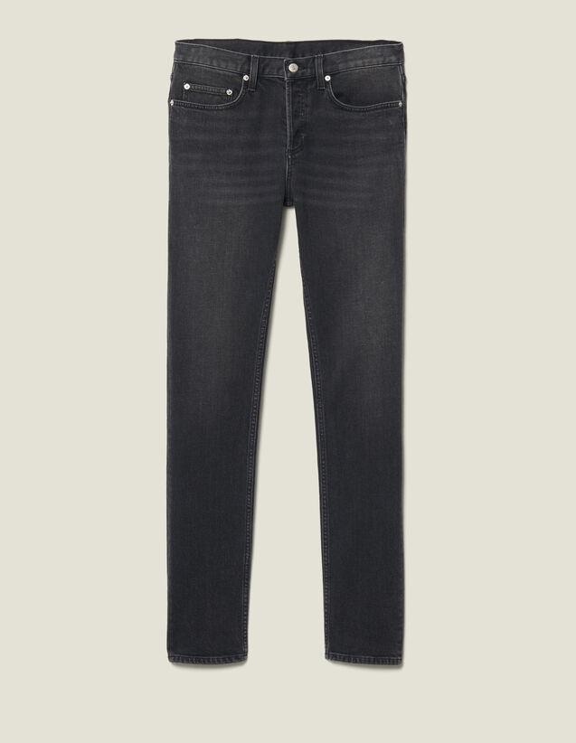 Washed Slim-Fit Stretch Jeans : Jeans color Black