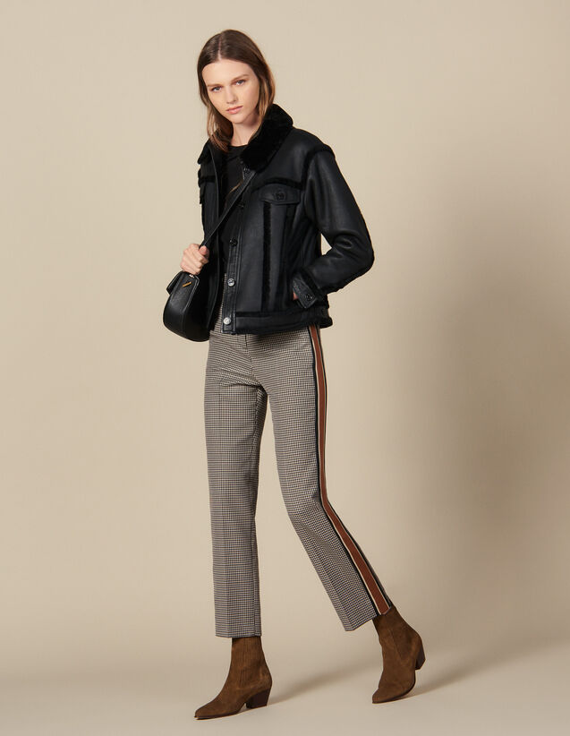 Straight-leg checked trousers : Pants color Brown
