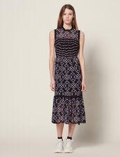 Midi Guipure Dress : null color Black
