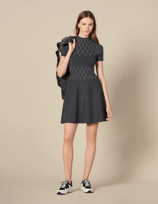 Knit knit dress trimmed with studs : Dresses color Mocked Grey