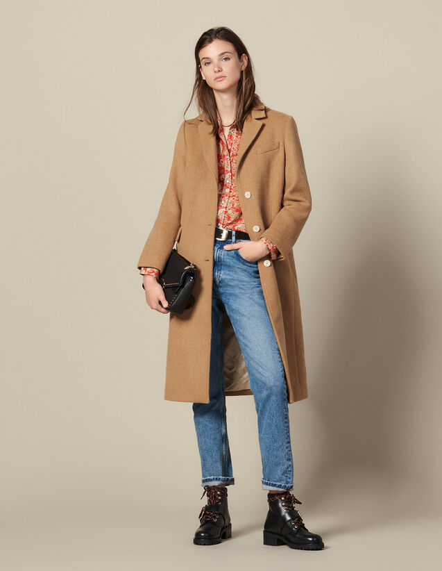 Long fitted woolcloth coat : Coats color Beige