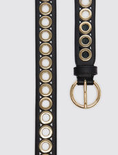 Belt with round buckle and eyelets : Best of the season color Black