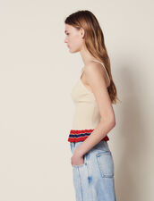 Knit Vest Top With Ruffle : Tops & Shirts color Beige