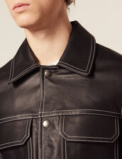 Topstitched Leather Jacket : Sélection Last Chance color Black