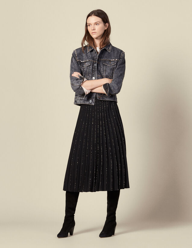 Pleated skirt with glitter trim : Skirts & Shorts color Black