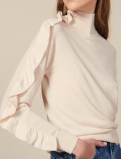 High Neck Sweater With Asymmetric Ruffle : Copy of VP-FR-FSelection-Pulls&Cardigans color Nude