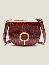 Pépita Patent Leather Bag, Small Model : All Winter collection color Orange leopard