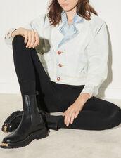 Washed denim jacket : Blazers & Jackets color Bleu Denim