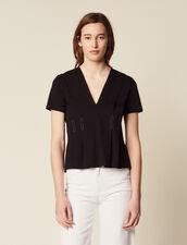 Topstitched V-Neck T-Shirt : null color Black