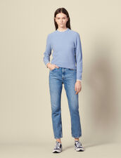 Pointelle knit sweater trimmed with lace : FBlackFriday-FR-FSelection-30 color Blue sky