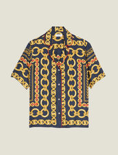 Short-Sleeved Printed Shirt : null color Navy Blue