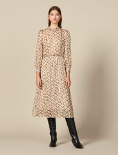 Printed Lurex Silk Midi Dress : Dresses color Beige