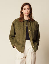 Leather Overshirt-Style Jacket : LastChance-FR-FSelection color Olive Green