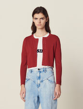 Cropped Knit Cardigan : null color Terracotta