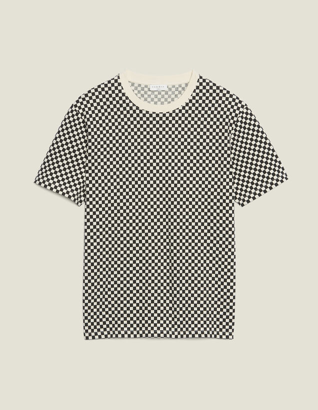Chequerboard Cotton T-Shirt : T-shirts & Polo shirts color Black