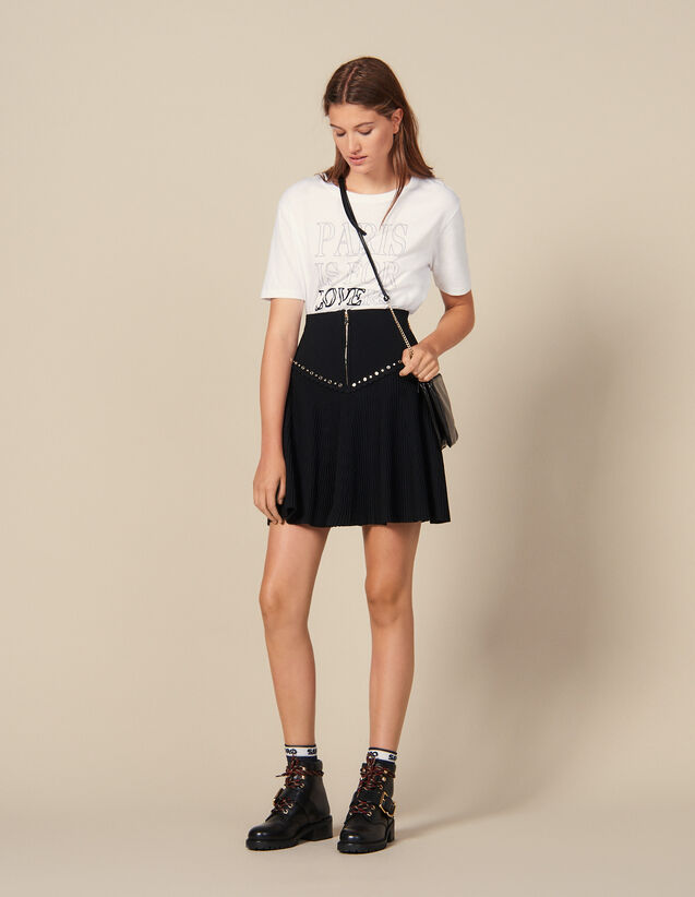 Flared Knit Skirt With Zip : Skirts & Shorts color Black