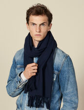 Wool and cashmere scarf : LastChance-IT-H40 color Navy Blue